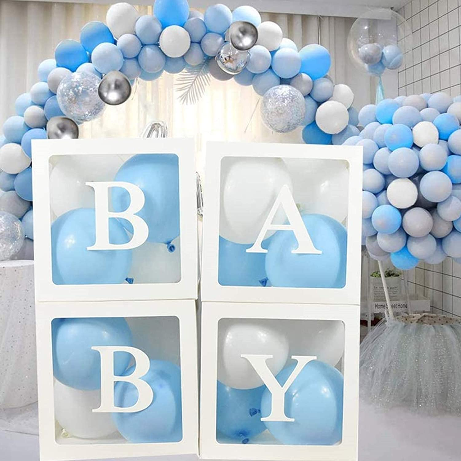 Baby Shower Decorations Balloons Box for Boys Transparent Decoration Boxes with Letters 32pcs Blue and White Balloons for Baby Shower First Birthday Party Gender Reveal Backdrop Home Decor (White)