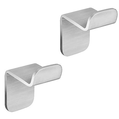 WEISSENSTEIN Gancho adhesivo para pared | Percha de baño | Colgadores de acero inoxidable | 1 x 1 gancho