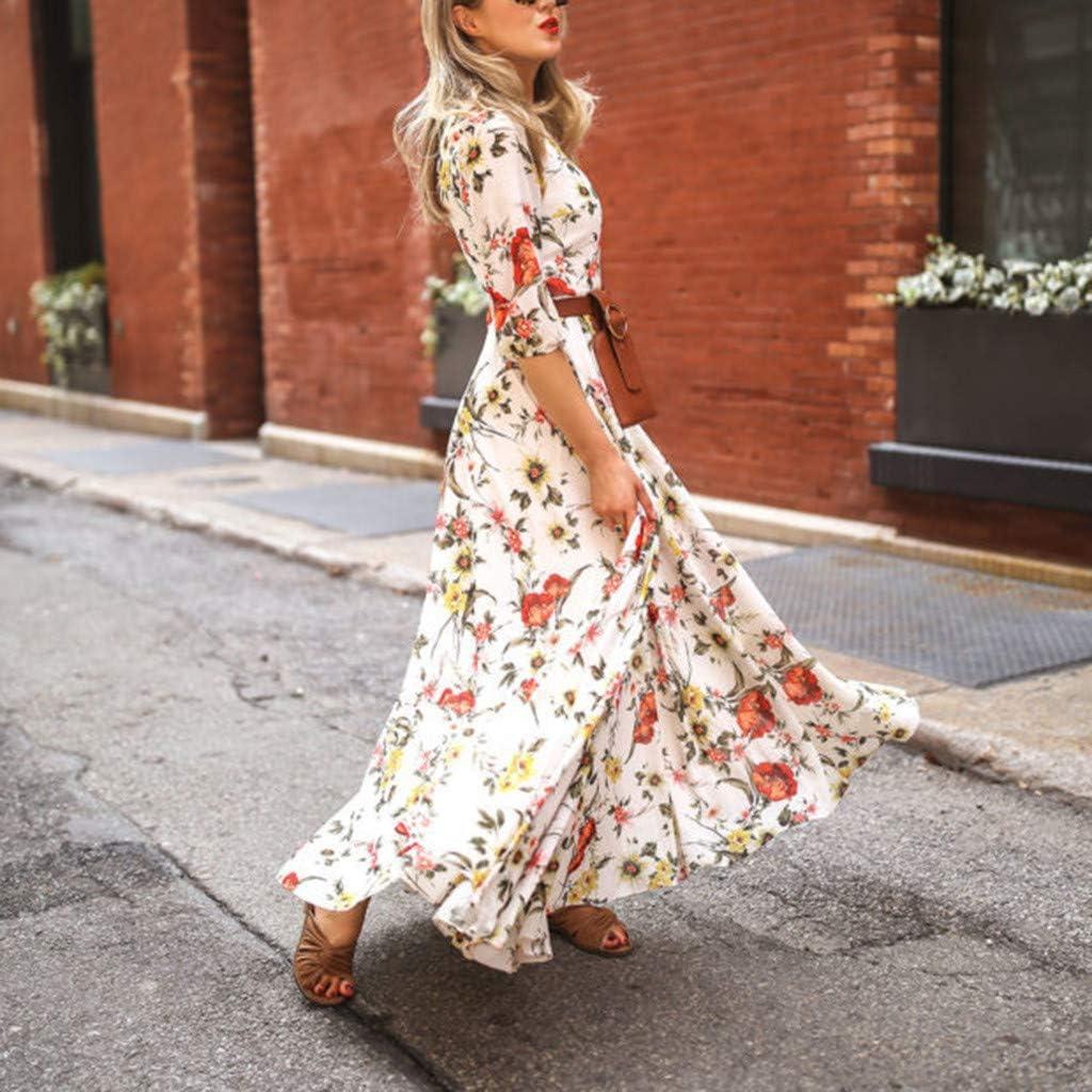 Staron  Women Floral Maxi Dresses Womens Summer Boho Dress Elegant Half Sleeve Swing Holiday Maxi Dresses
