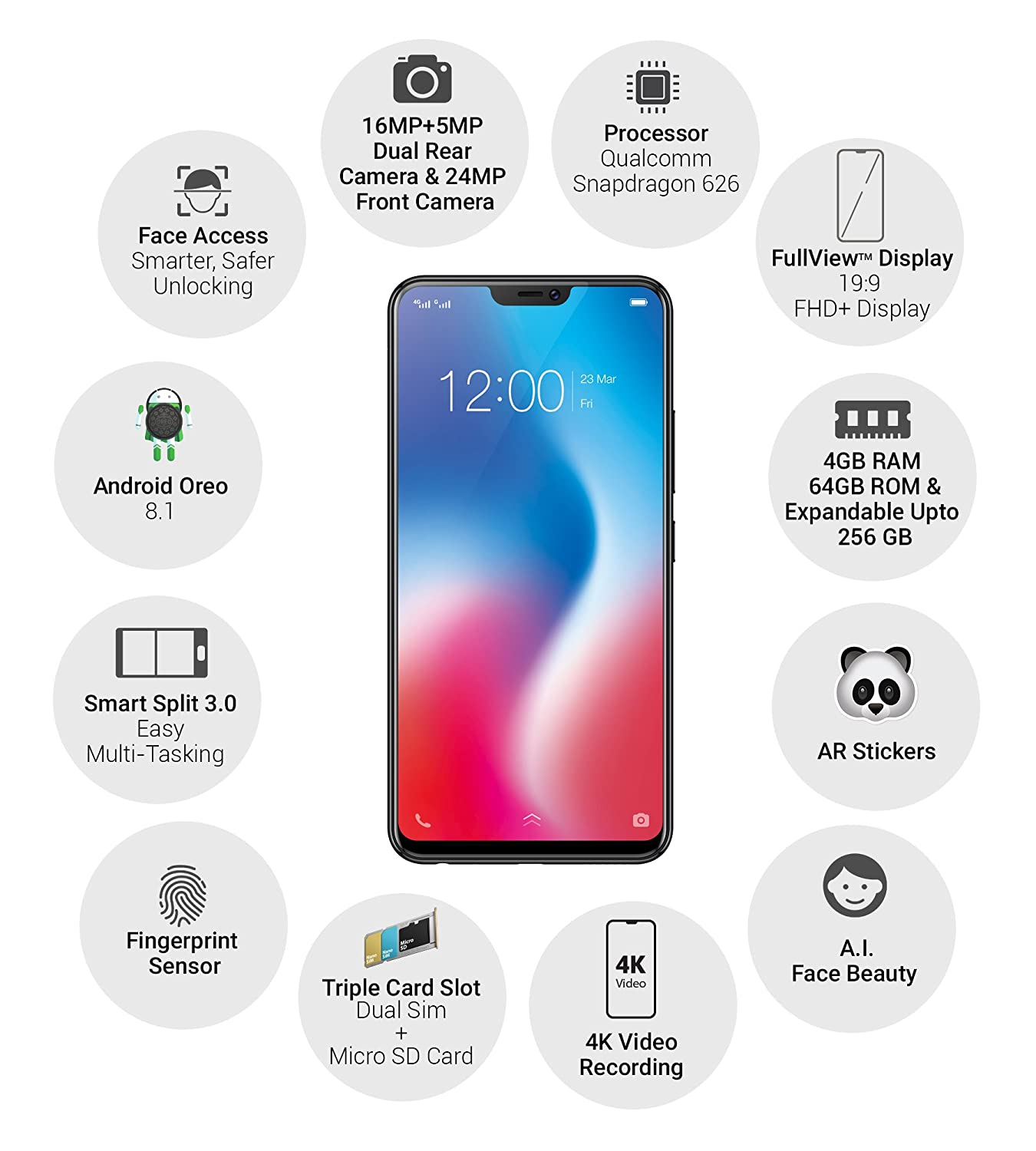 Vivo V9 (Pearl Black-Gold, 4GB RAM, 64GB Storage) with Offers