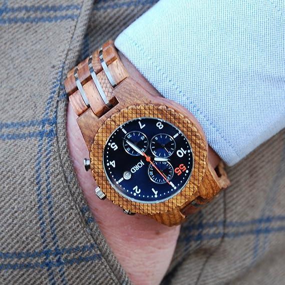Jord Madera muñeca Relojes para Hombres - Conway Serie Cronógrafo/Madera y Metal Reloj Banda/Madera Bisel/Cuarzo analógico - Incluye Caja de Madera Reloj: ...