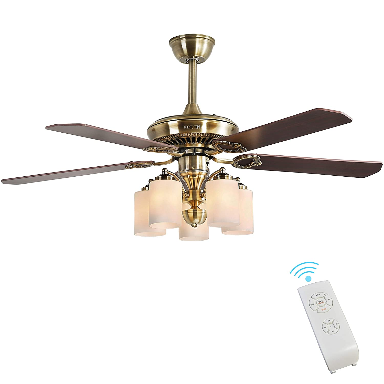 Indoor ceiling fan light fixtures finxin fxcf07 2018 new design vintage new bronze remote led 52 ceiling fans for bedroomliving roomdining room