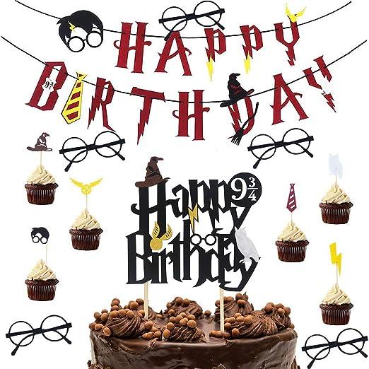 Decoracion de Fiesta Mago - WENTS 13 pieza Cumpleaños Banner Happy Birthday Gafas Harry Potter Niño Cupcake Topper para Fiesta de Cumpleaños ...