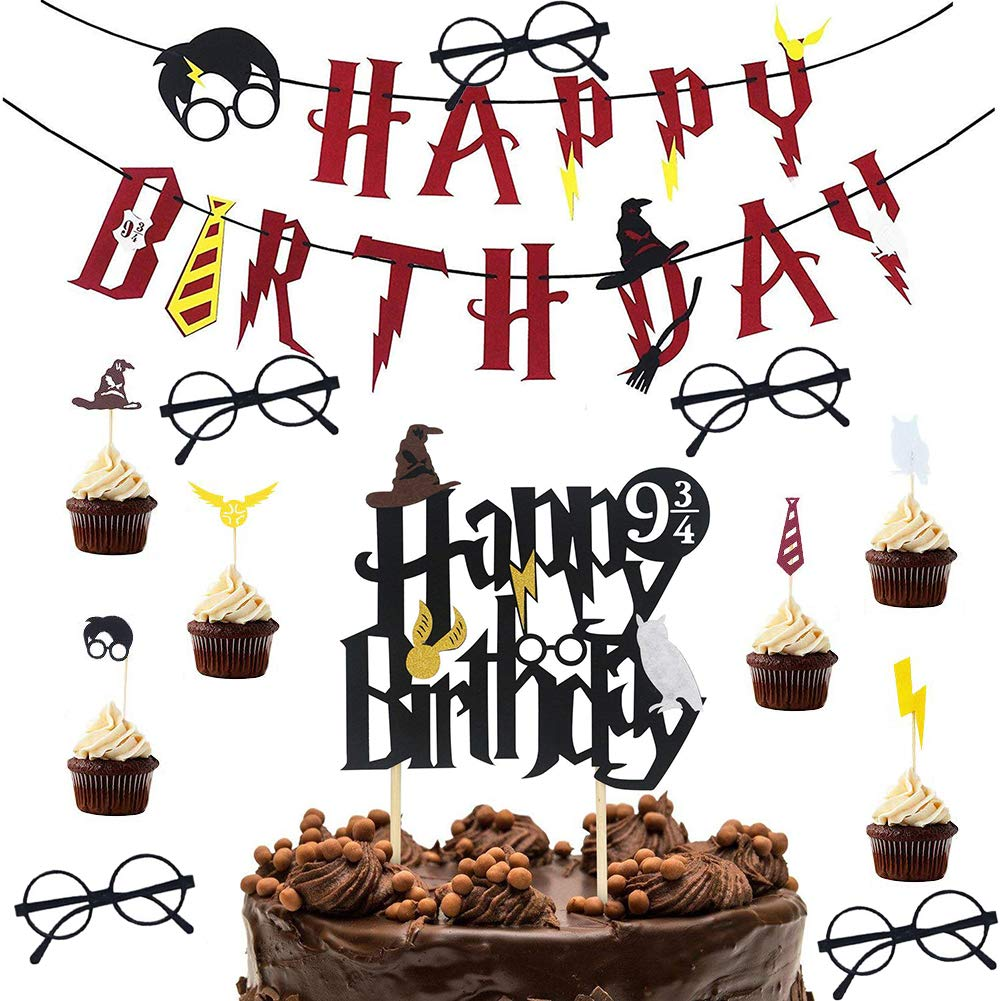 WENTS Harry Potter Party Supplies 13PCS Happy Birthday Banner Harry Potter Inspired Cupcake Toppers Wizard Glasses Harry Potter Wizard Birthday Party Decorations Supplies Set