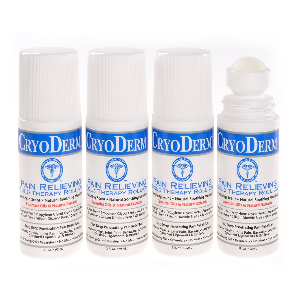 Cryoderm D-Roll-On-3oz-4 Cold Roll-On 3 oz. (Pack of 4) by Cryoderm