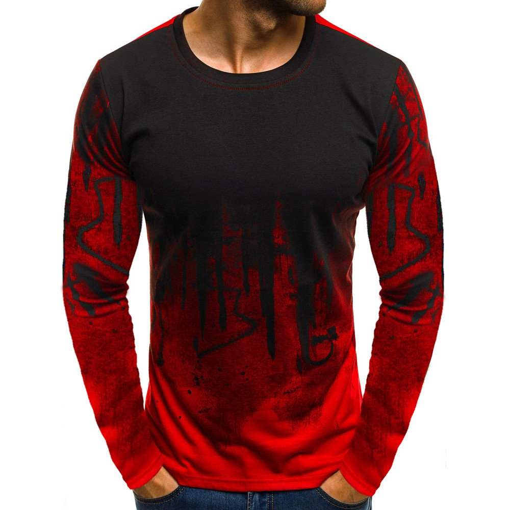 Colmkley Mens Gradient Color Shirt Long-Sleeve Muscle Basic Blouse T Shirt Top