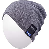 Qshell Trendy Warm Soft Knit Slouchy Music Beanie Skully Hat avec Casque stéréo sans Fil Mic Hands Free Rechargeable Battery for Fitness Sports de Plein air Ski Running Patinage Walking