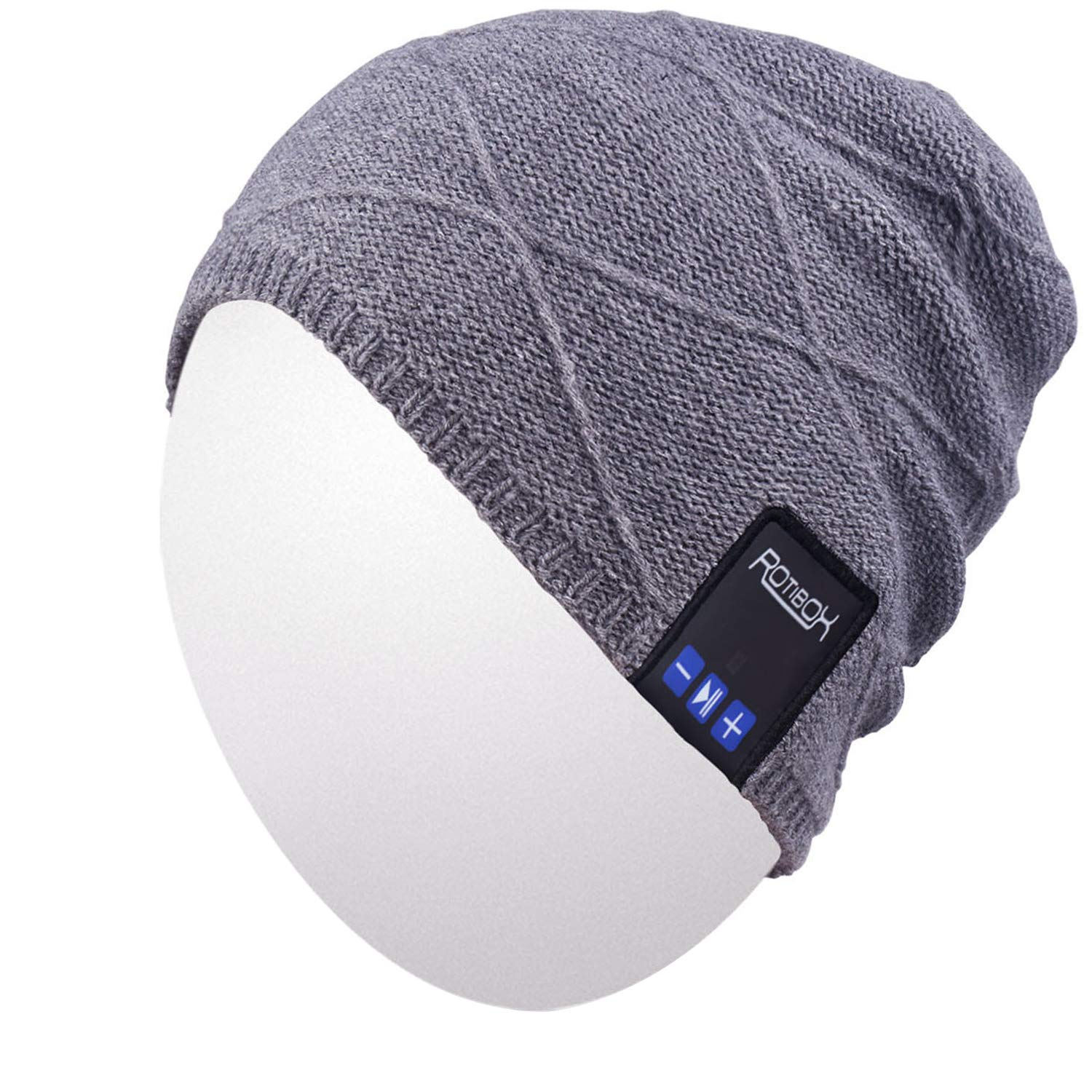 Qshell Unisex Adult Bluetooth Beanie Hat Trendy Soft Warm Short Audio Music Cap with Wireless Headphone Headset Speaker Mic Hands-Free, for Winter Outdoor Sport Skiing Snowboard - Gray
