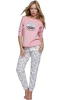 8be3267e7cf2e8 Sensis sensationeller Baumwoll-Pyjama Schlafanzug Hausanzug aus zartem  Oberteil und Langer Gemusterter Hose, Made