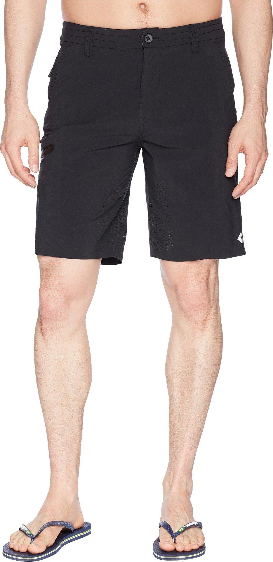 Rip Curl Men's Mf Global Entry 20'' Boardwalk Hybrid Travel Stretch Shorts, Black/Black, 36