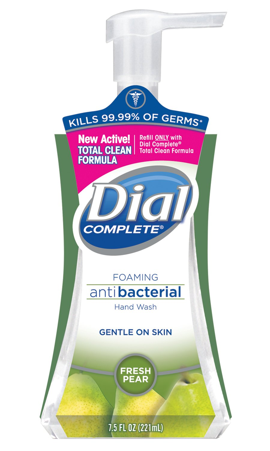 Dial 02934CT Antibacterial Foaming Hand Wash, Fresh Pear, 7.5oz Pump Bottle (Case of 8) by Dial