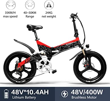 LANKELEISI G650 Bicicleta Eléctrica 20 x 2.4 Pulgada Bicicleta de ...
