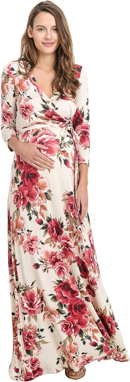 HELLO MIZ Women's Maternity Maxi Dress with Waist Belt at  Women's Clothing store