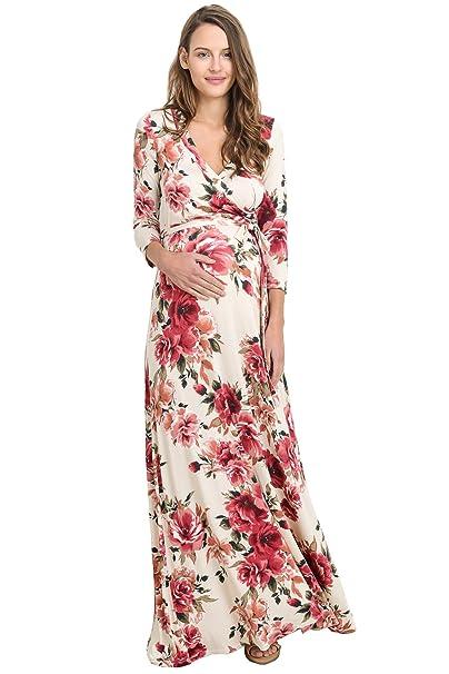 8defd6e5a Hello MIZ Vestido de Maternidad para Mujeres Pequeña Marfil Rojo  Amazon.es