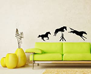 Jumping Horses Wall Vinyl Decals Sticker Home Interior Decor for Any Room Housewares Mural Design Graphic Bedroom Wall Decal (5703)