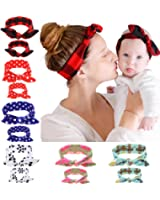 WZT 12PCS Baby and Mom Headbands Bow and Knot Hair Bands Elastic Headwear