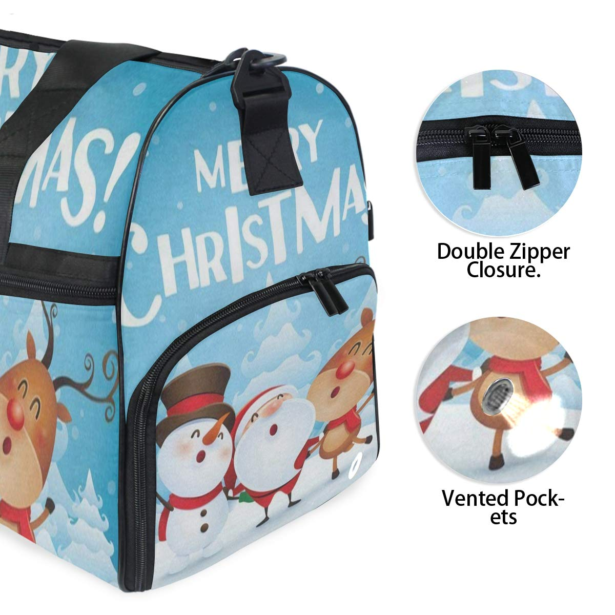 Christmas Snow Snowflake Snowman Large Canvas shoulder bag with Shoe Compartment Travel Tote Luggage Weekender Duffle Bag