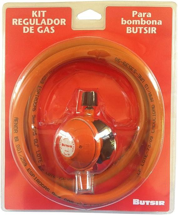 Grifo regulador de gas con cabezal giratorio con presión de salida 28 (gr/cm^2) para botella naranja Butsir