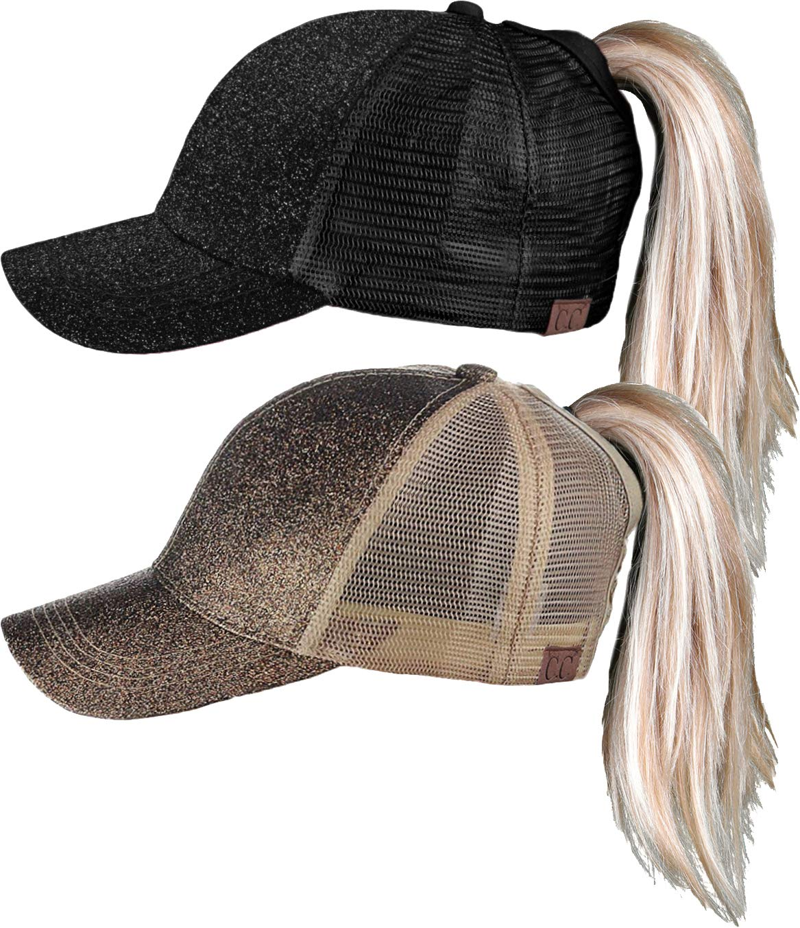H-209-2-0607 Glitter Ponycap Trucker Hat 2-Pack: Black and Macciato
