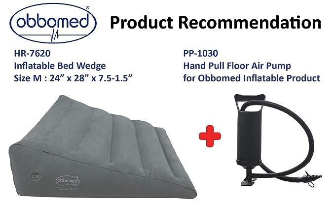 ObboMed HR-7620 Práctica Válvula de Aire para Inflado/Desinflado Fácil, Cuña Inflable para Tareas Pesadas - Tamaño M: 61 (L) x 71 (A) x 19-4 (A) cm
