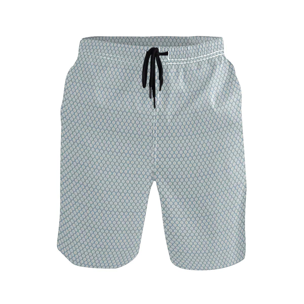 COVASA Mens Summer ShortsDoodle Foliage Pattern with Pastel Colored Background