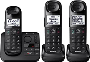 Panasonic KX-TGL433B / KX-TG3683B Dect 6.0 3-Handset Landline Telephone, Black (Renewed)