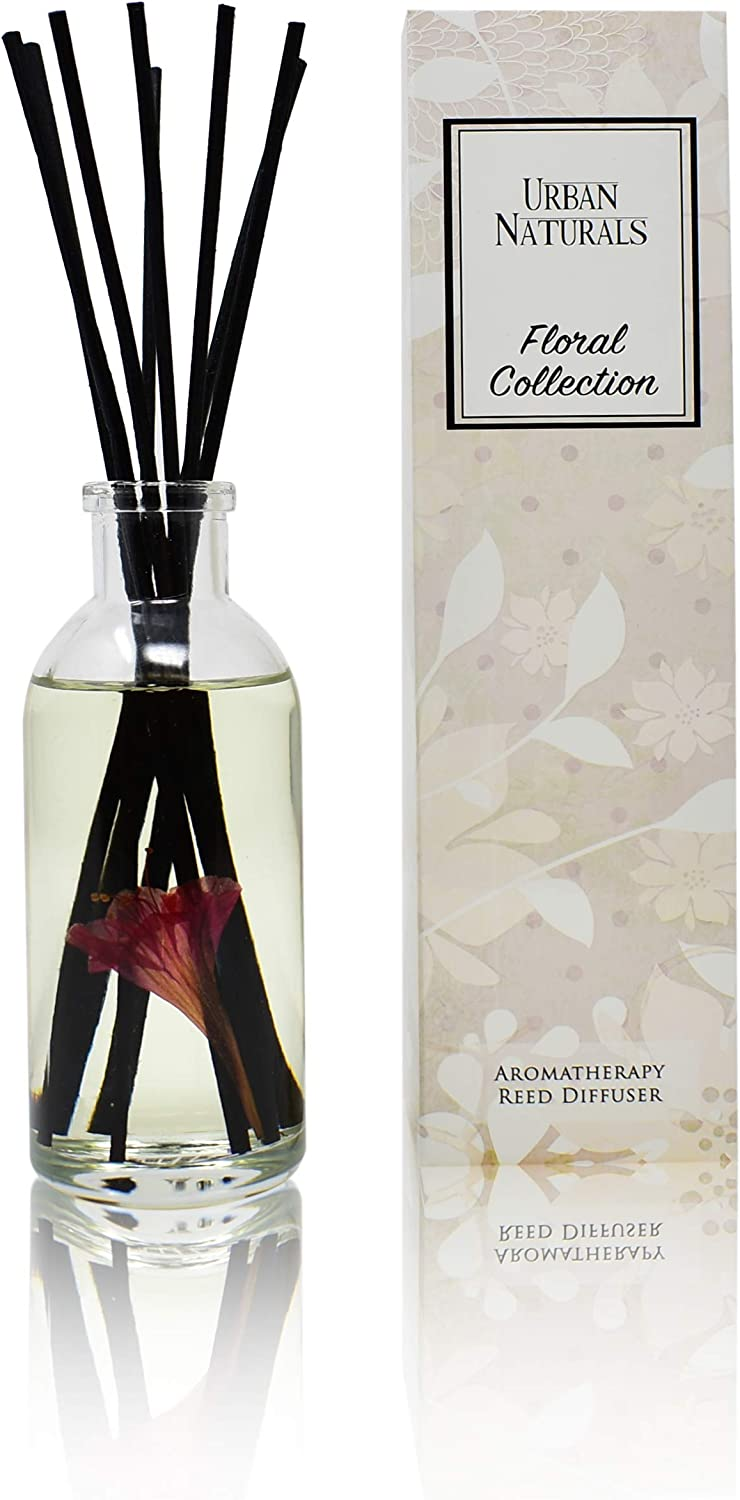 Urban Naturals Honeysuckle & Jasmine Reed Diffuser Oil Scented Sticks Set– Hyacinth, Cassis, Neroli & Geranium | Long Lasting Air Freshener for The Bedroom, Bathroom or Office | Made in The USA