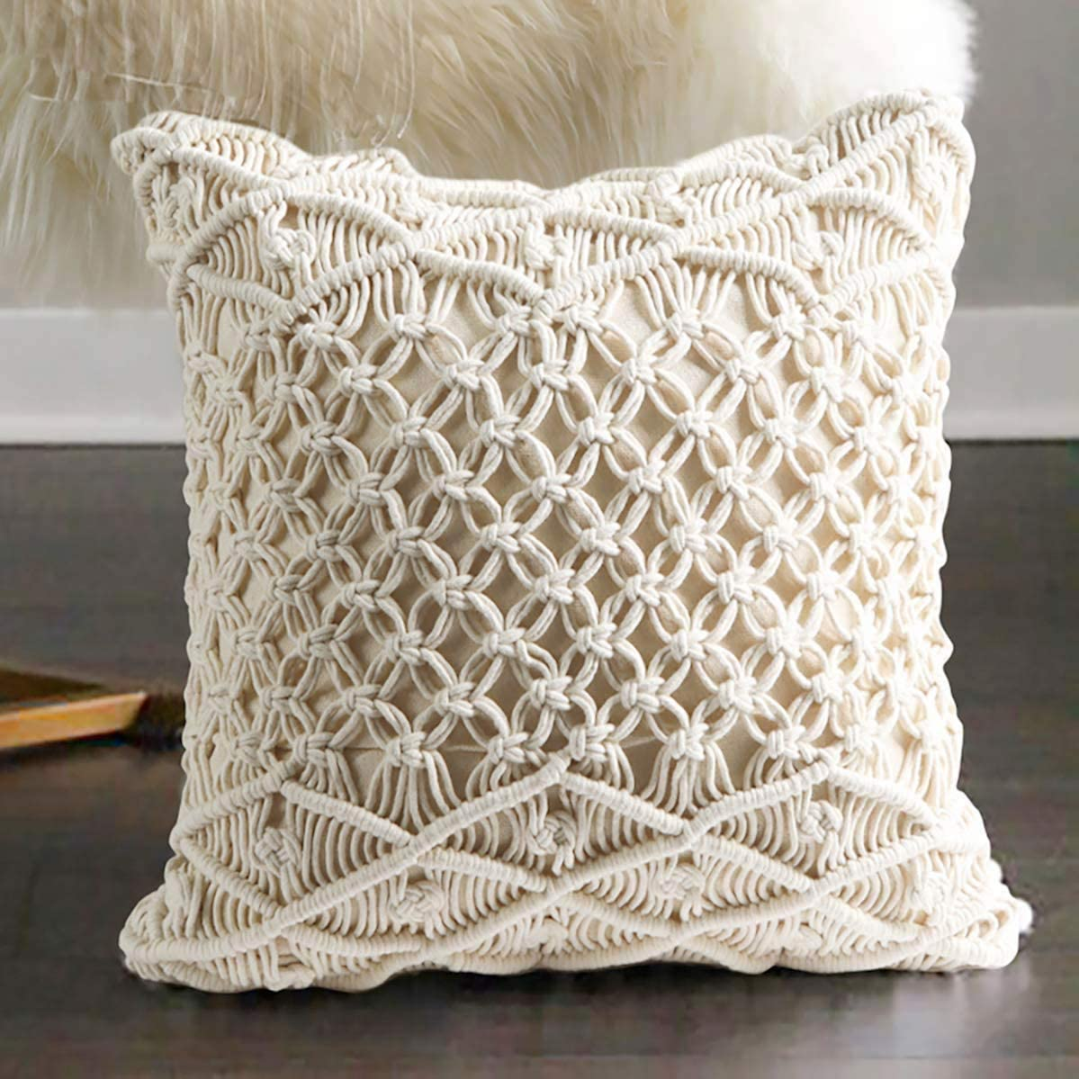 Flber Macrame Pillow Woven Decorative Throw Pillow,15.8 x15.8