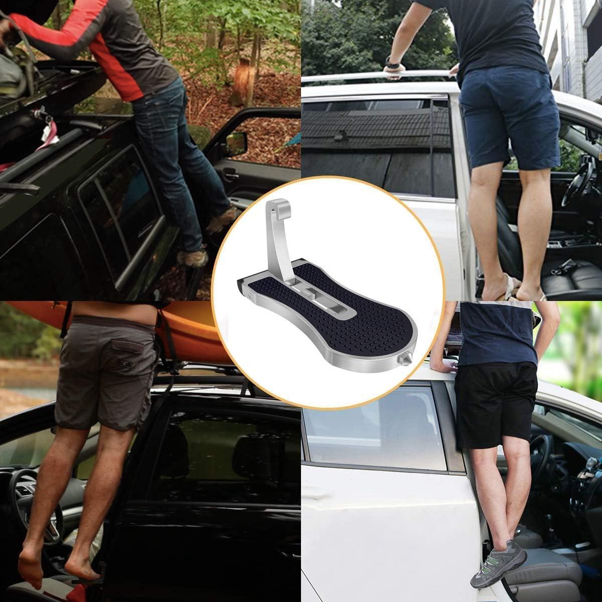 SUV Nrpfell Supports de Pied D/éChelle de Toit de Voiture Accroch/éS sur Un Loquet en Forme de U P/éDale Pied Pliable pour Voiture avec Marteau de S/éCurit/é pour Voiture Tout-Terrain