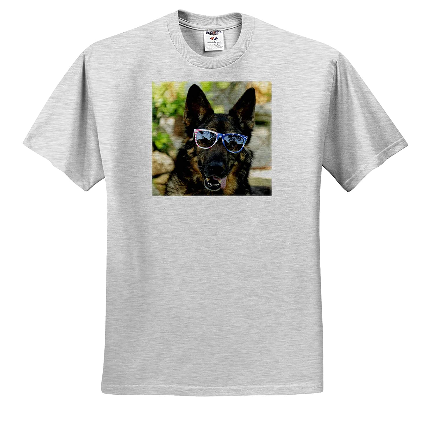 3dRose Stamp City Photograph of a German Shepherd Wearing Patriotic Sunglasses ts/_315569 - Adult T-Shirt XL Animals