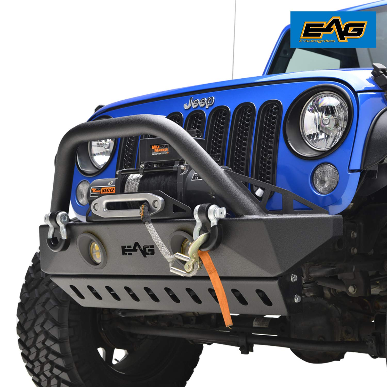 EAG Stubby Front Bumper with LED Lights & Light Frames and Skid Plate for 07-18 Jeep Wrangler JK