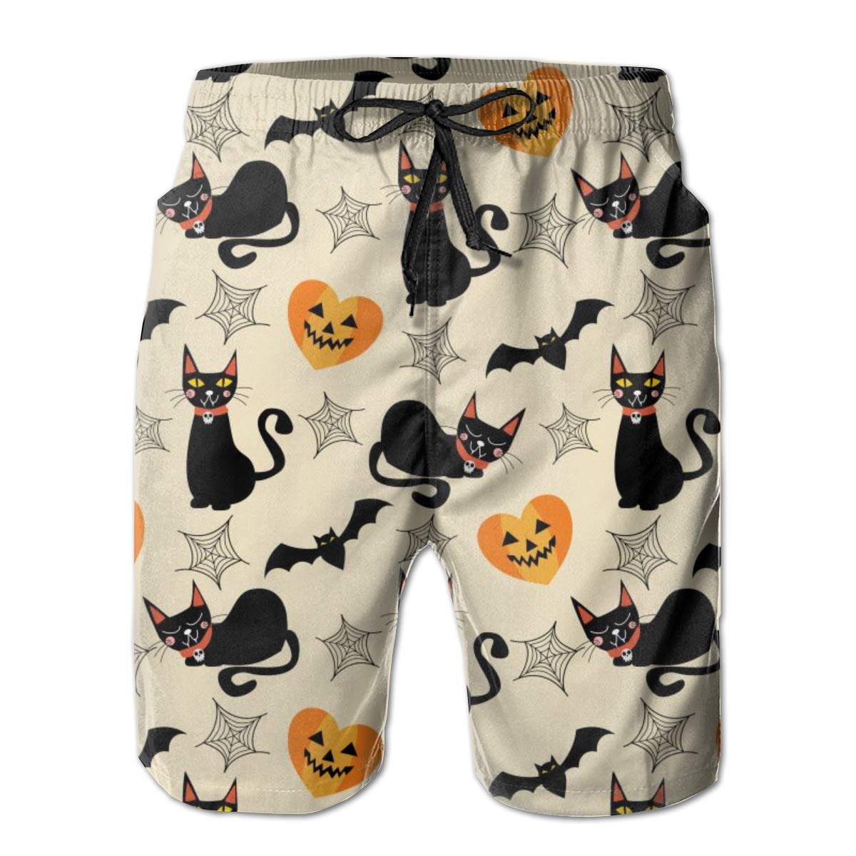 ONE-HEART-HR Mens Black Cat and Halloween Summer Swim Trunk Board Short Beach Shorts