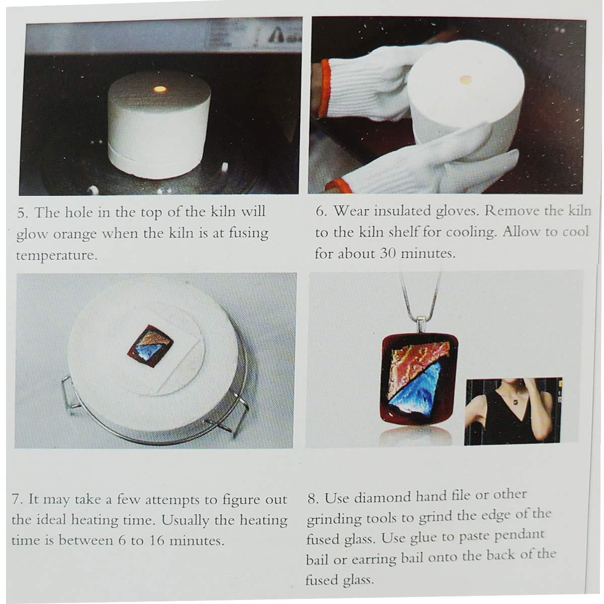 Microwave Kiln and DIY Fusing Glass Jewelry Set,Extra Large Microwave Kiln Kit For Fusing Glass Kiln 10 PCS Set,ROY ROJAS Professional Microwave Kiln Kit Set - for DIY Jewelry Glass Fusing Kiln tools by ROY ROJAS (Image #5)