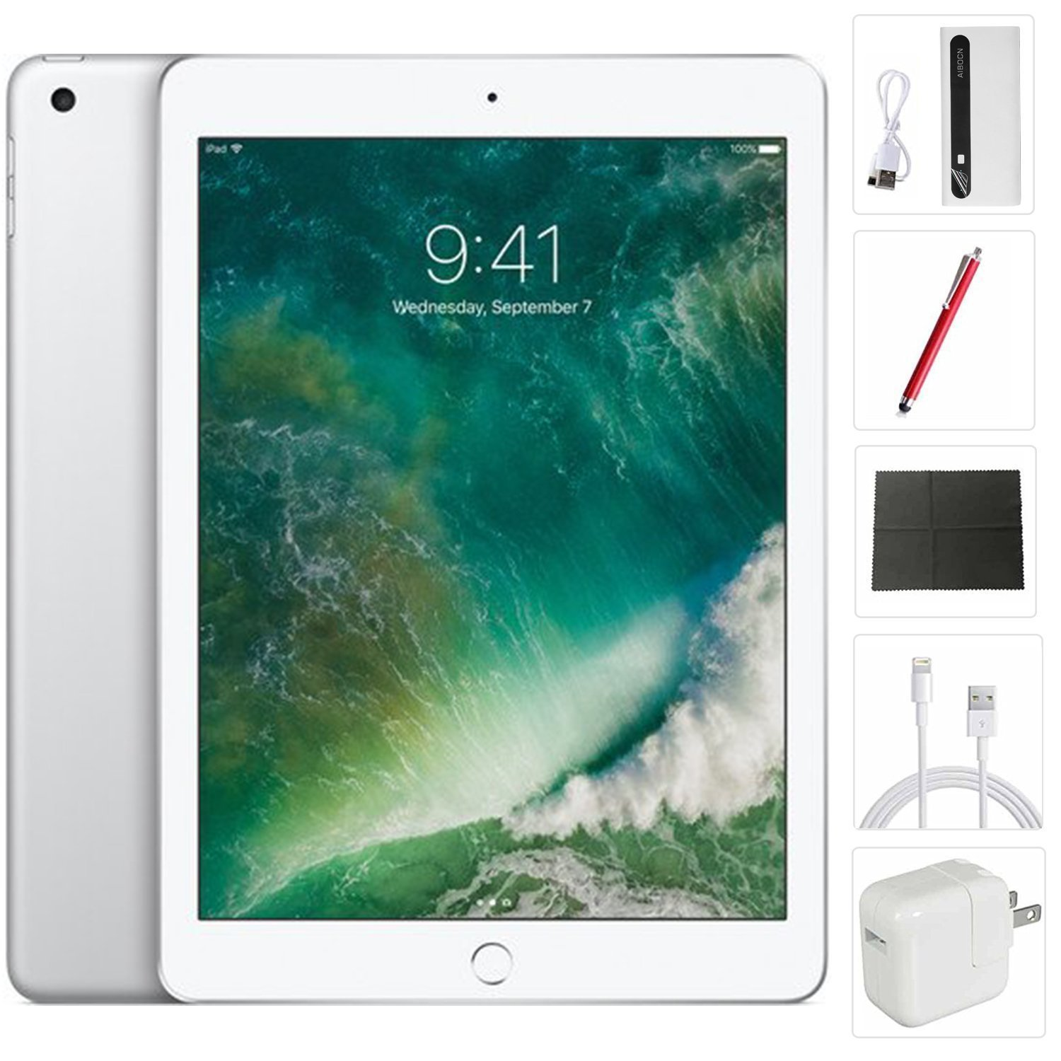 Apple iPad mini 4 Tablet (128GB, Silver, 7.9 Inch, 2017 Model, WiFi) + Accessories Bundle (10,000mAh iPad Power Bank, iPad Stylus Pen, Microfiber Cloth) MK9P2LL/A