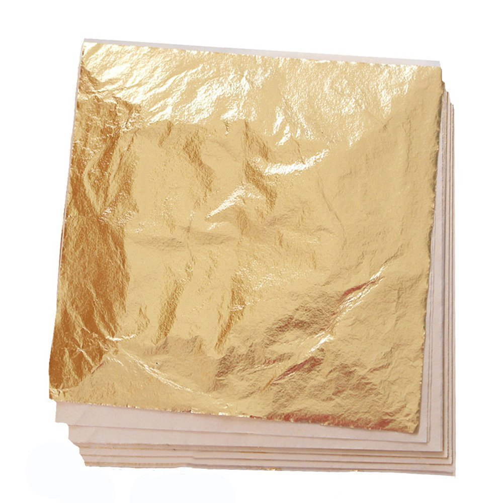 RUNYUU 100 Sheets Imitation Gold Leaf for Arts, Gilding Crafting, Decoration, Furniture, 5.5 by 5.5 Inches Kixnor