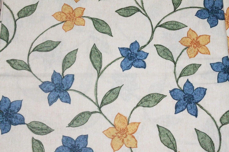Russo Tessuti Tessuto Cotone Giglio PROVENZALE Blu Coccio Fondo Panna 2,80x2,80 mt-Blu