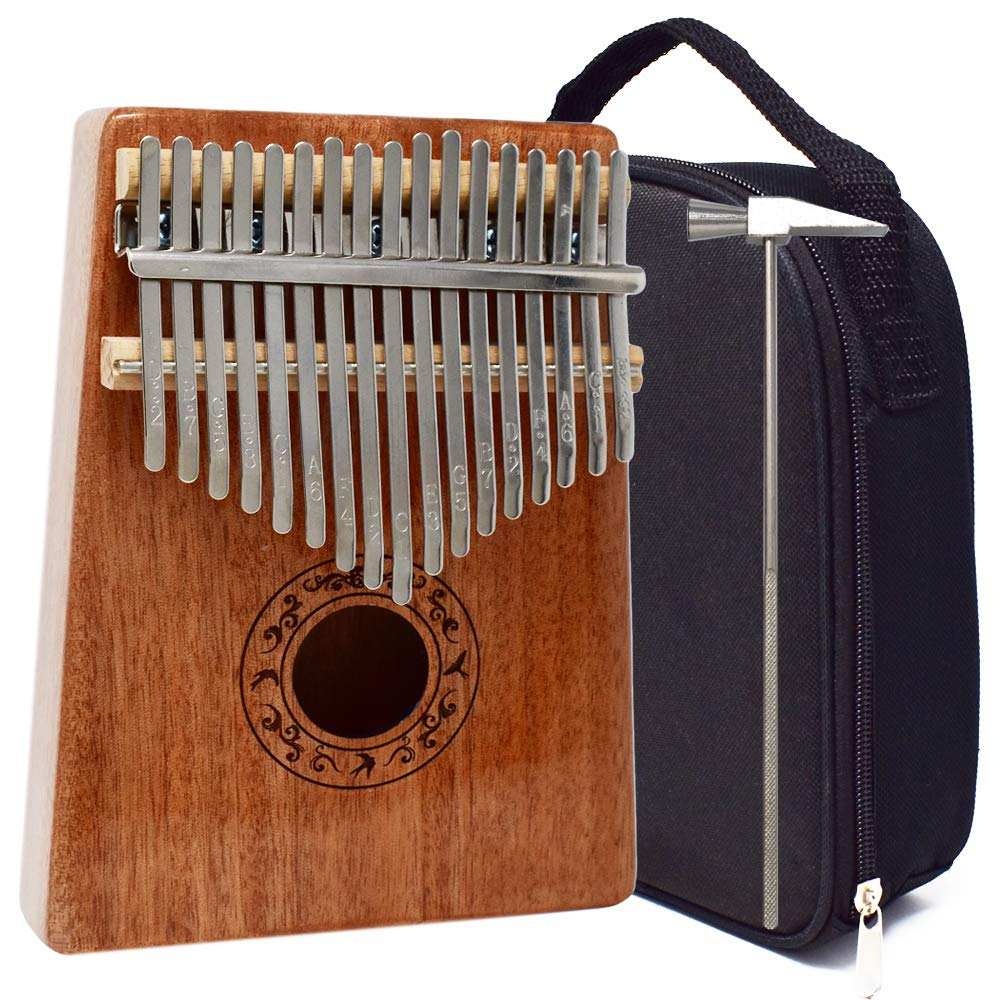 KM Glossed Kalimba 17 Keys Thumb Piano with Study Instructions, Tuning Hammer and Portable bag by Kalimba Muzika