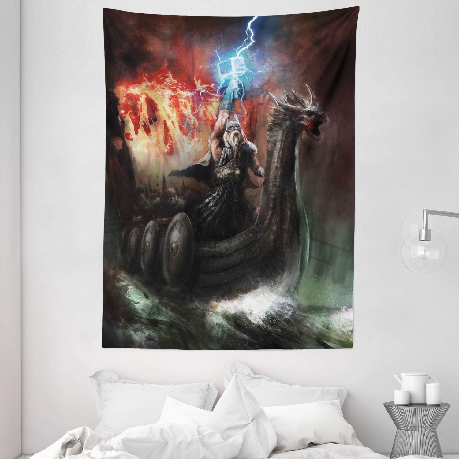 "Ambesonne Dragon Tapestry, Imaginary Wrath of Vikings Royal Boat with Dragon Head Storm Rays, Wall Hanging for Bedroom Living Room Dorm, 60"" X 80"", Charcoal Red"