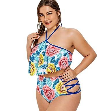 3a3b18a0c1e Amazon.com: EbuyChX Lattice Side Plus Size Flower Print Bikini Set ...