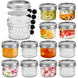 FRUITEAM 4 oz 12 PACK Mini Mason Jars with Lids and Bands, Quilted Crystal Jars Ideal for Food Storage, Jam, Body Butters, Je