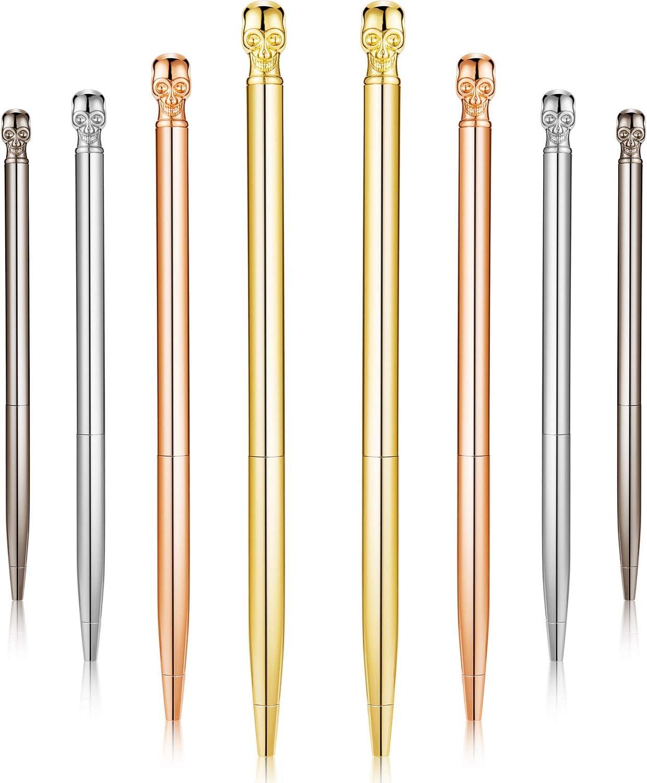 8 Pieces Skull Ballpoint Pens Metal Writing Pen Novelty Skull Pen for Students,Teachers, Halloween Present, Office Supplies