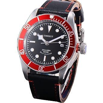 6457814d43 corgeutサファイアガラス自動メンズ腕時計ブラックダイヤル光赤ベゼル自動日付 gold markers ブラック