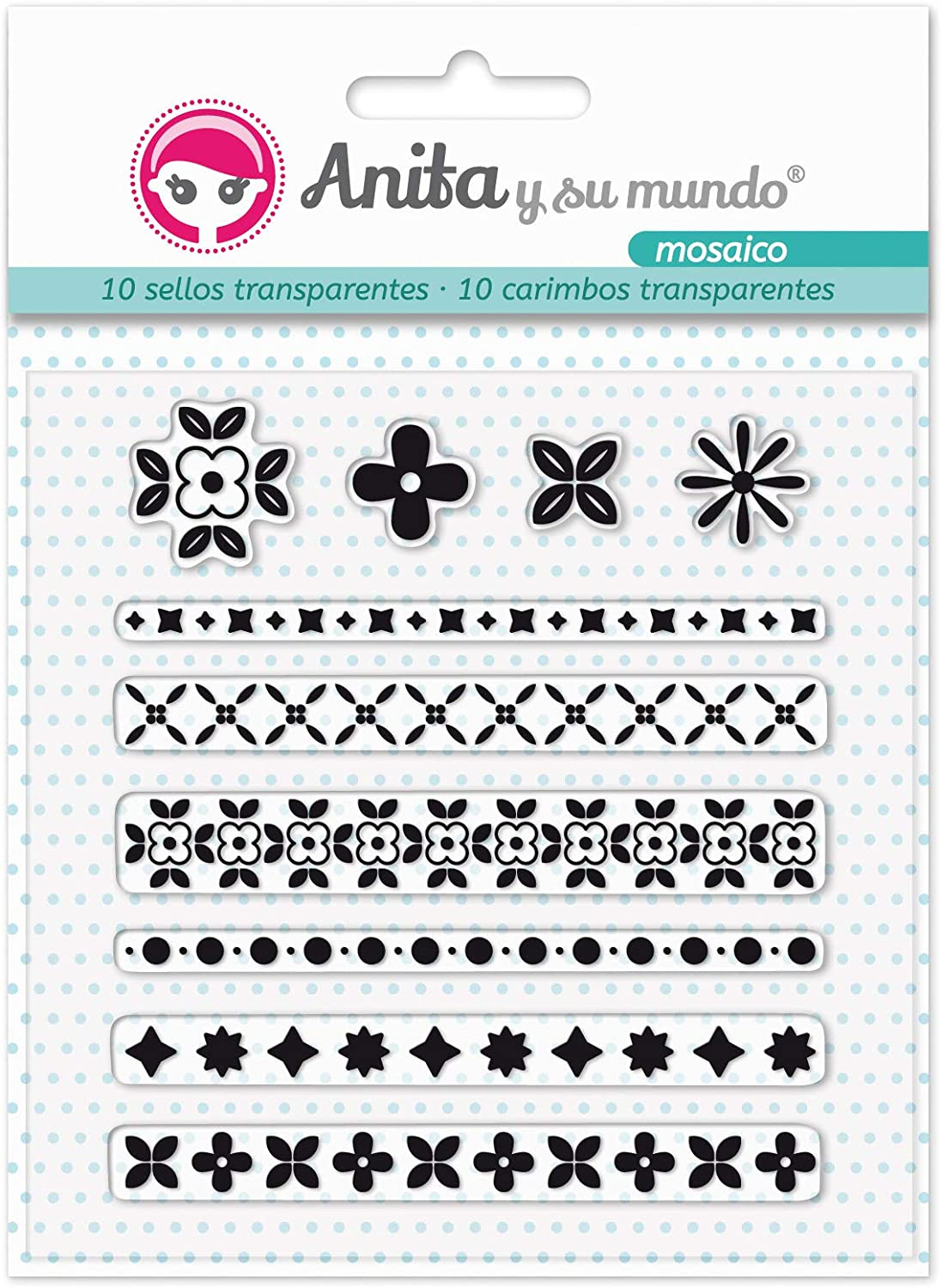 Pack of 10 16.8 x 12 cm Anita and Su Mundo 37010319 Mosaic Collection Silicone Stamps for Scrapbooking Multicoloured