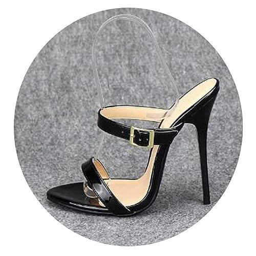 Big Size Pumps Thin Shoes 14cm High Heels Women Patent Leather Peep Toe Platform,White,41