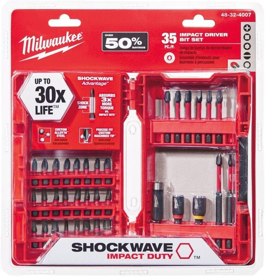 Shockwave Hex Drill Bits 50 Pieces MILWAUKE Impact Duty Driver Steel Bit Set