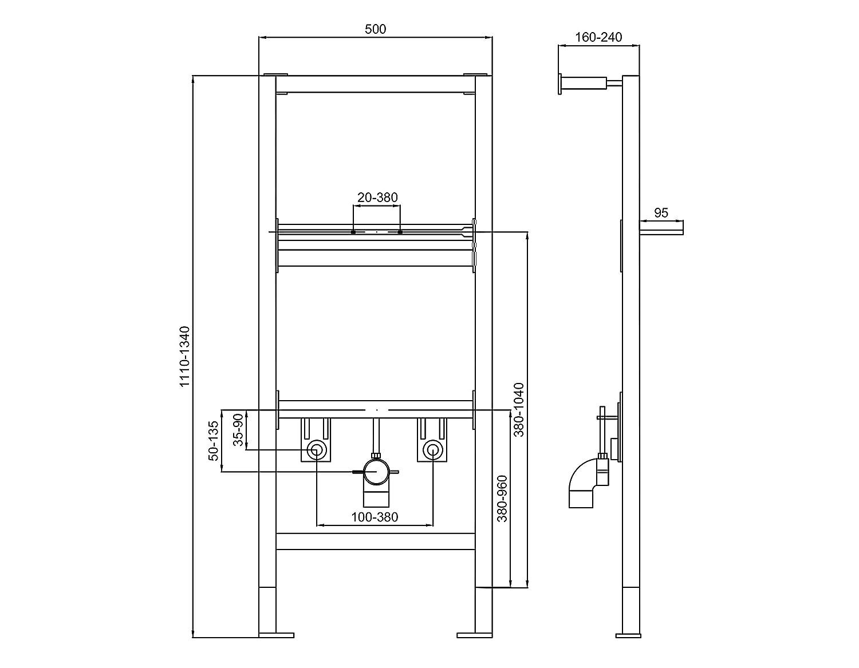 Vorwandelement selbsttragend f/ür Waschbecken pulverbeschichteter Rahmen H/öhe 111-134 cm einstellbar Lavita Domino Base Montage-Element f/ür Waschtisch mit Einlocharmatur