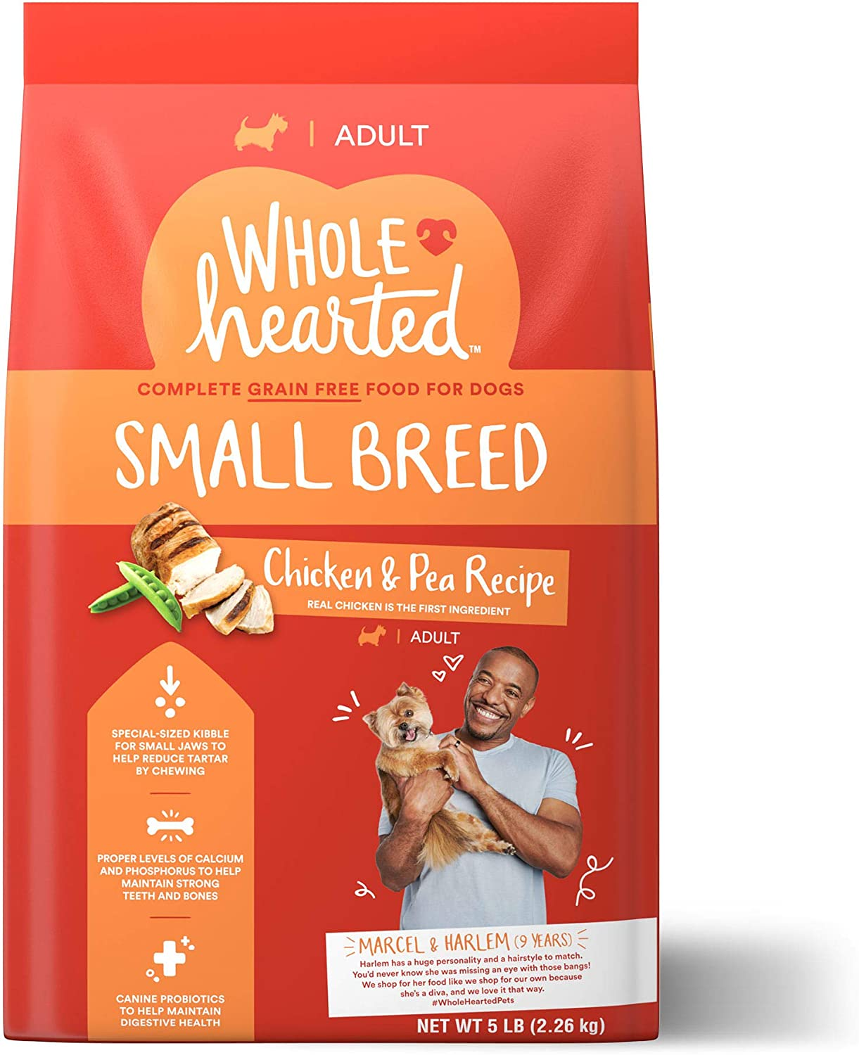 WholeHearted Grain Free Small-Breed Chicken and Pea Recipe Adult Dry Dog Food, 5 lbs.