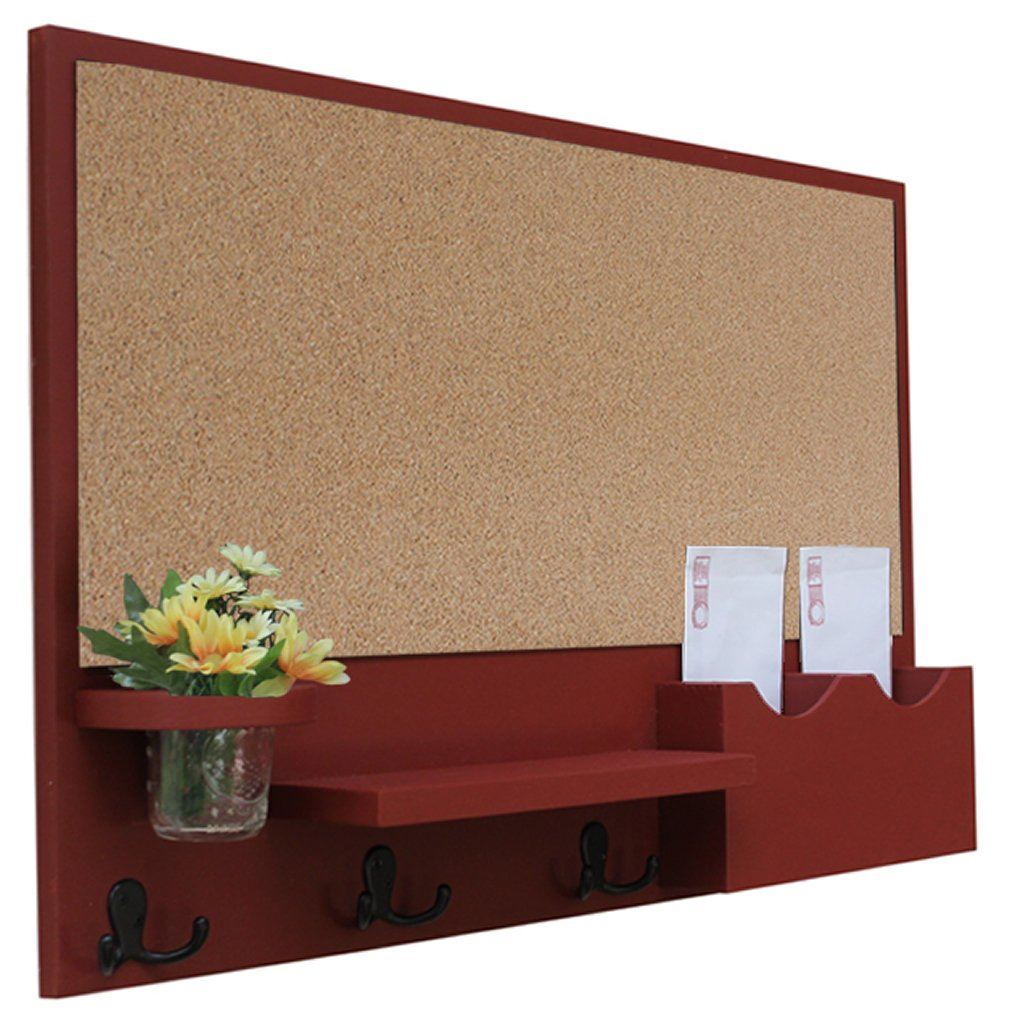 Legacy Studio Décor Cork Board Mail & Letter Holder with Key Hooks (Smooth, Barn Red)
