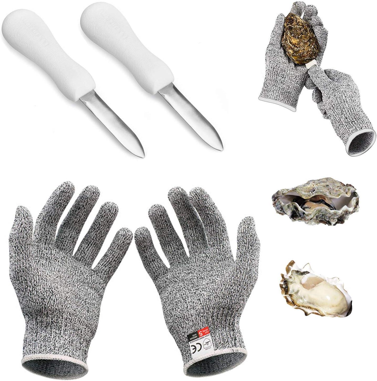 Oyster Shucking Knife, Oyster Knife Oyster Shucker 2 Pcs Shucking Knife and 1 Pair Oyster Gloves Shucking Cut Resistant Glove Knife Glove Oyster Shucking Kit Seafood Opener