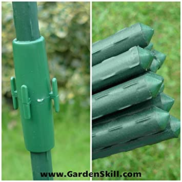 1.8m/6ft Plastic Coated Light Steel Bamboo Canes Plant Support + Connectors    Bamboo
